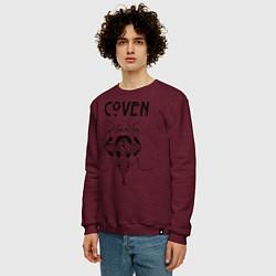 Свитшот хлопковый мужской Coven Snake цвета меланж-бордовый — фото 2