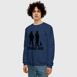 Свитшот хлопковый мужской Вежливые люди и кот цвета тёмно-синий — фото 2