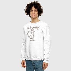 Свитшот хлопковый мужской 0019 цвета белый — фото 2