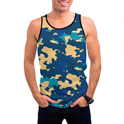 Майка-безрукавка мужская Камуфляж: голубой/желтый цвета 3D-черный — фото 2