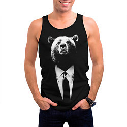 Майка-безрукавка мужская Медведь бизнесмен цвета 3D-черный — фото 2