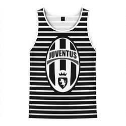 Майка-безрукавка мужская FC Juventus: Black Lines цвета 3D-белый — фото 1