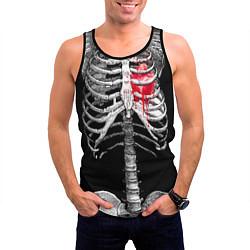 Мужская 3D-майка без рукавов с принтом Скелет с сердцем, цвет: 3D-черный, артикул: 10072149204123 — фото 2