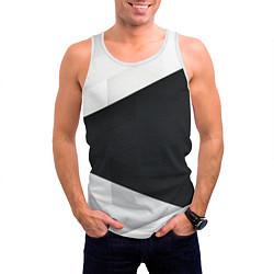 Майка-безрукавка мужская Чёрно-белый цвета 3D-белый — фото 2