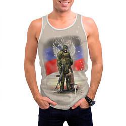 Майка-безрукавка мужская Солдат и дитя цвета 3D-белый — фото 2