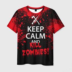Футболка мужская Keep Calm & Kill Zombies цвета 3D-принт — фото 1