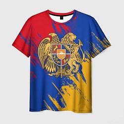 Футболка мужская Герб и флаг Армении цвета 3D-принт — фото 1