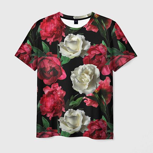 Мужская футболка Красные и белые розы