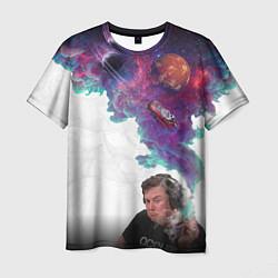 Футболка мужская Илон Маск курит космос цвета 3D — фото 1