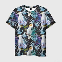 Мужская 3D-футболка с принтом Тропические попугаи, цвет: 3D, артикул: 10065275303301 — фото 1