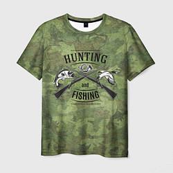 Футболка мужская Hunting & Fishing цвета 3D-принт — фото 1