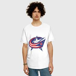 Мужская удлиненная футболка с принтом Columbus Blue Jackets, цвет: белый, артикул: 10010709105753 — фото 2