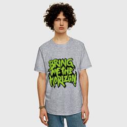 Мужская удлиненная футболка с принтом Bring me the horizon, цвет: меланж, артикул: 10013054305753 — фото 2