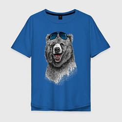Футболка оверсайз мужская Медведь в очках цвета синий — фото 1