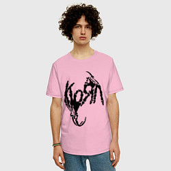 Футболка оверсайз мужская Korn bones цвета светло-розовый — фото 2