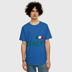 Мужская удлиненная футболка с принтом Сборная Италии: 1 номер, цвет: синий, артикул: 10014069705753 — фото 2