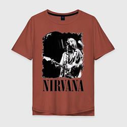 Футболка оверсайз мужская Black Nirvana цвета кирпичный — фото 1