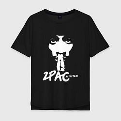 Мужская удлиненная футболка с принтом 2Pac: All Eyez On Me, цвет: черный, артикул: 10146487105753 — фото 1