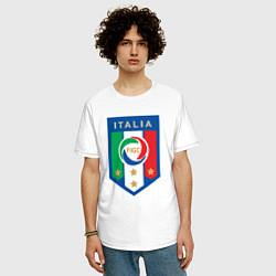 Мужская удлиненная футболка с принтом Italia FIGC, цвет: белый, артикул: 10153220905753 — фото 2
