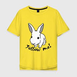 Мужская удлиненная футболка с принтом Rabbit: follow me, цвет: желтый, артикул: 10015749205753 — фото 1