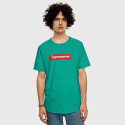 Футболка оверсайз мужская Suprememe цвета зеленый — фото 2