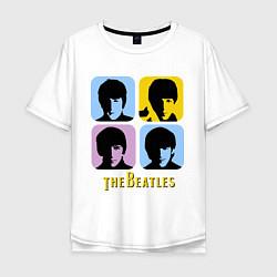 Футболка оверсайз мужская The Beatles: pop-art цвета белый — фото 1