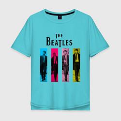 Футболка оверсайз мужская Walking Beatles цвета бирюзовый — фото 1