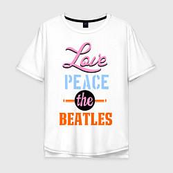 Мужская футболка оверсайз Love peace the Beatles