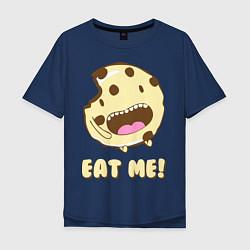 Футболка оверсайз мужская Cake: Eat me! цвета тёмно-синий — фото 1