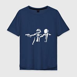 Футболка оверсайз мужская Daft Punk цвета тёмно-синий — фото 1