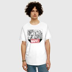 Мужская удлиненная футболка с принтом Marvel Prod, цвет: белый, артикул: 10178049705753 — фото 2