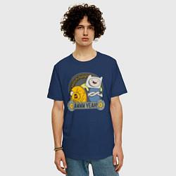 Футболка оверсайз мужская Awww yeah! цвета тёмно-синий — фото 2