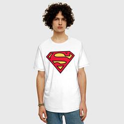 Футболка оверсайз мужская Superman logo цвета белый — фото 2