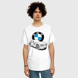 Футболка оверсайз мужская BMW цвета белый — фото 2