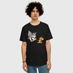 Футболка оверсайз мужская Tom & Jerry цвета черный — фото 2