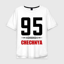 Мужская удлиненная футболка с принтом 95 Chechnya, цвет: белый, артикул: 10022359505753 — фото 1