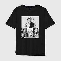 Мужская удлиненная футболка с принтом Haikyuu!! Kuroo & Bokuto, цвет: черный, артикул: 10277111105753 — фото 1