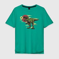 Футболка оверсайз мужская Диносамурай цвета зеленый — фото 1