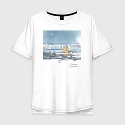 Футболка оверсайз мужская Стрелка, Нижний Новгород цвета белый — фото 1