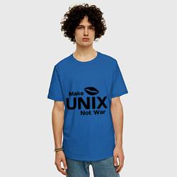 Футболка оверсайз мужская Make unix, not war цвета синий — фото 2