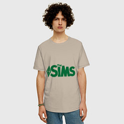 Футболка оверсайз мужская Sims цвета миндальный — фото 2