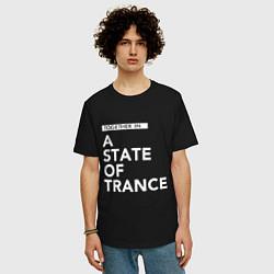 Мужская удлиненная футболка с принтом Together in A State of Trance, цвет: черный, артикул: 10058970805753 — фото 2