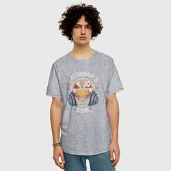 Мужская удлиненная футболка с принтом Saitama's Gym, цвет: меланж, артикул: 10082100205753 — фото 2