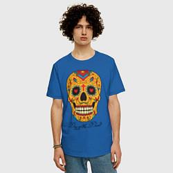 Футболка оверсайз мужская Мексиканский череп цвета синий — фото 2