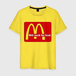 Футболка хлопковая мужская Will work for food цвета желтый — фото 1