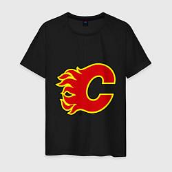 Футболка хлопковая мужская Calgary Flames цвета черный — фото 1