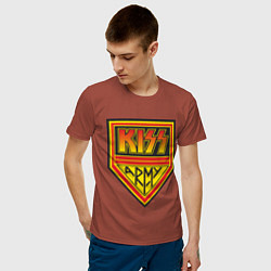 Футболка хлопковая мужская Kiss Army цвета кирпичный — фото 2