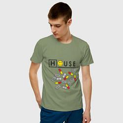 Футболка хлопковая мужская House M.D. Pills цвета авокадо — фото 2