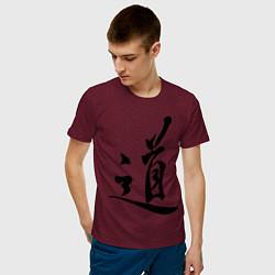 Футболка хлопковая мужская Иероглиф Дао цвета меланж-бордовый — фото 2