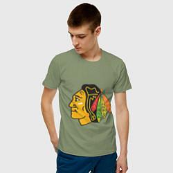 Футболка хлопковая мужская Chicago Blackhawks: Kane цвета авокадо — фото 2